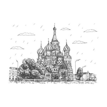 Vista de la Catedral de San Basilio en la Plaza Roja en Moscú, Rusia. Dibuja a mano. Ilustración vectorial Ilustración de vector
