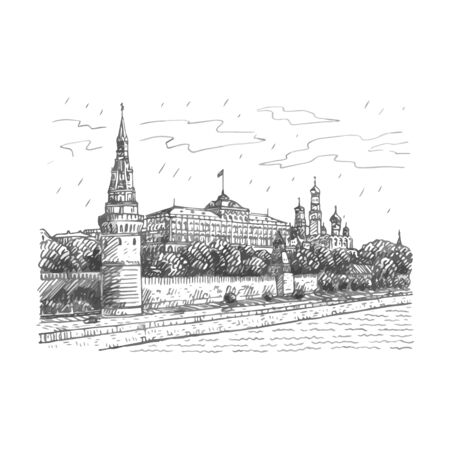 View of Moscow Kremlin and Moscow River, Russia. Sketch by hand. Vector illustration 일러스트