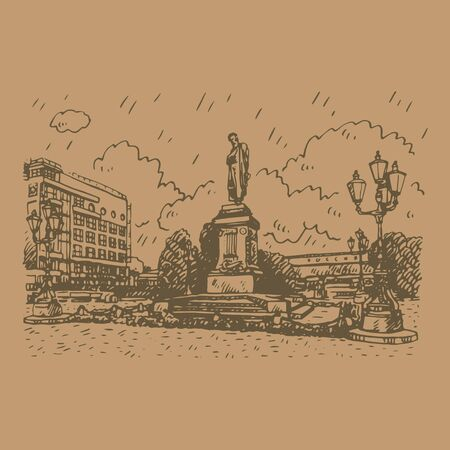 Monument to the Russian poet Pushkin in Moscow Pushkin Square. Sketch by hand. Vector illustration Foto de archivo - 131274646