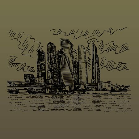 Moscow city (Moscow International Business Center), Russia. Skyscrapers on the bank of the Moscow river. Sketch by hand. Vector illustration. Engraving style Ilustração