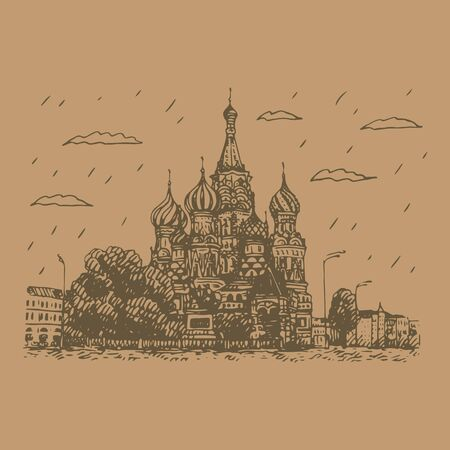 View of St. Basils Cathedral on the Red Square in Moscow, Russia. Sketch by hand. Vector illustration