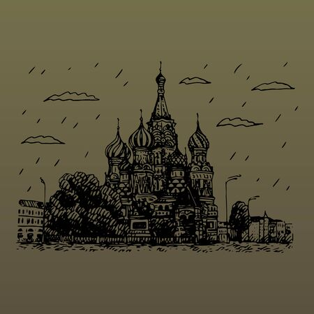 View of St. Basil's Cathedral on the Red Square in Moscow, Russia. Sketch by hand. Vector illustration
