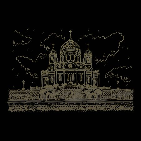 Cathedral of Savior in Moscow, Russia. Sketch by hand. Vector illustration Stock fotó - 129163783