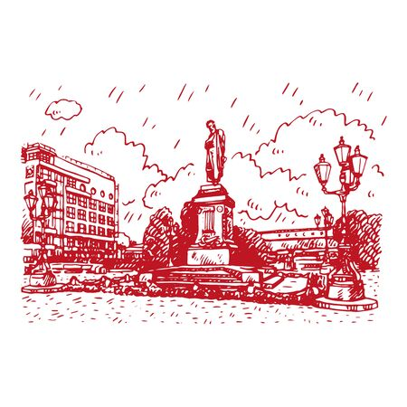 Monument to the Russian poet Pushkin in Moscow Pushkin Square. Sketch by hand. Vector illustration Stock fotó - 127905317