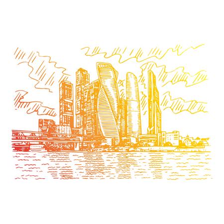 Ciudad de Moscú (Centro Internacional de Negocios de Moscú), Rusia. Rascacielos en la orilla del río Moscú. Dibuja a mano. Ilustración vectorial. Estilo de grabado