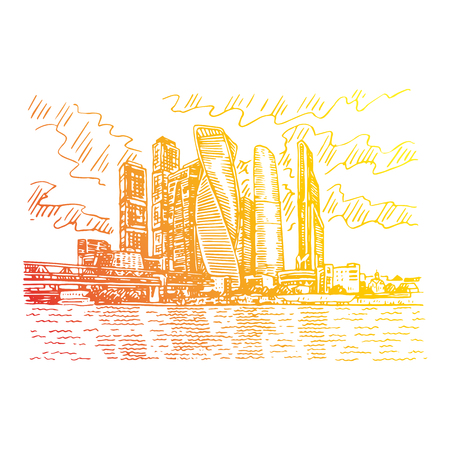 Moscow city (Moscow International Business Center), Russia. Skyscrapers on the bank of the Moscow river. Sketch by hand. Vector illustration. Engraving style Illustration