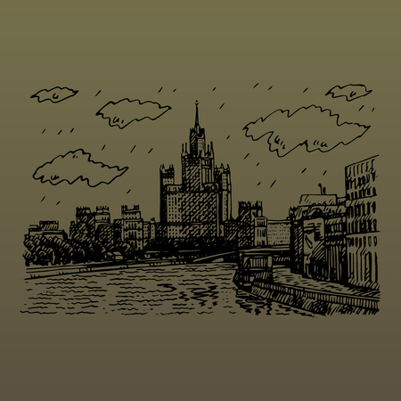 Moscow cityscape. View of the Moskva River, Raushskaya quay, Bolshoy Bridge and Kotelnicheskaya Embankment High-Rise Building. Sketch by hand. Vector illustration