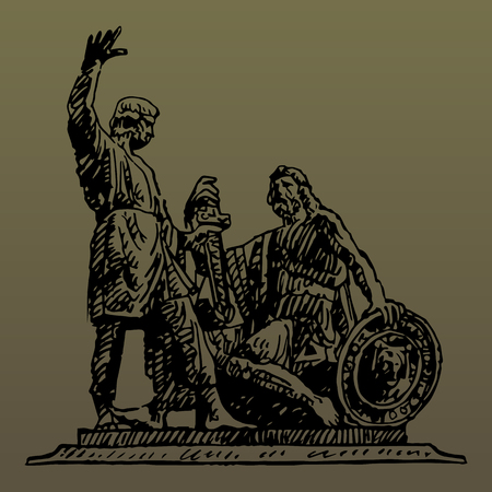 Monument to Minin and Pozharsky on the Red Square in Moscow Russia. Sketch by hand. Vector isolated illustration. Engraving style