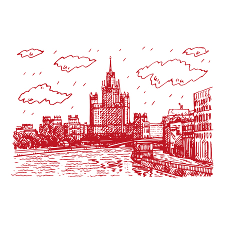 Moscow cityscape. View of Kotelnicheskaya Embankment High-Rise Building. Sketch by hand. Vector illustration