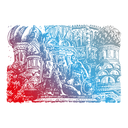Statue of Minin and Pozharsky against the backdrop of St. Basil's Cathedral in Moscow Russia. Sketch by hand. Vector illustration. Engraving style