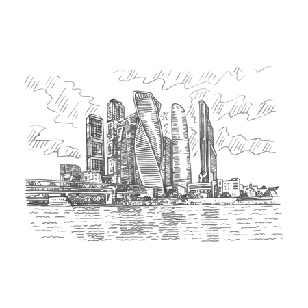 Moscow city (Moscow International Business Center), Russia. Skyscrapers on the bank of the Moscow river. Sketch by hand. Vector illustration. Engraving style Illusztráció