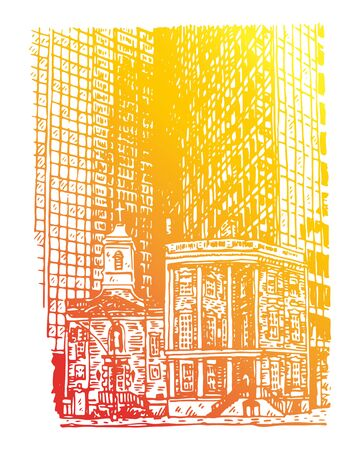 The Shrine of St. Elizabeth Ann Seth and James Watson House, New York City, USA. Sketch by hand. Vector illustration. Engraving style Stock fotó - 129163779