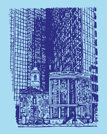 The Shrine of St. Elizabeth Ann Seth and James Watson House, New York City, USA. Sketch by hand. Vector illustration. Engraving style