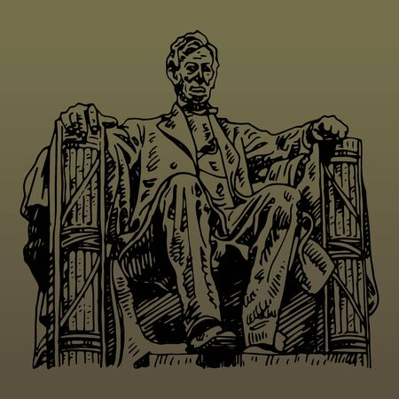 Statue of Abraham Lincoln, Lincoln Memorial, Washington DC, USA. Sketch by hand. Vector illustration. Engraving style