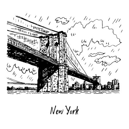Brooklyn bridge in New York, USA. Sketch by hand. Vector illustration. Engraving style 写真素材 - 129454528