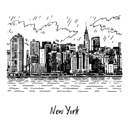 Panoramic view of Manhattan, New York, USA. Sketch by hand. Vector illustration. Engraving style Çizim