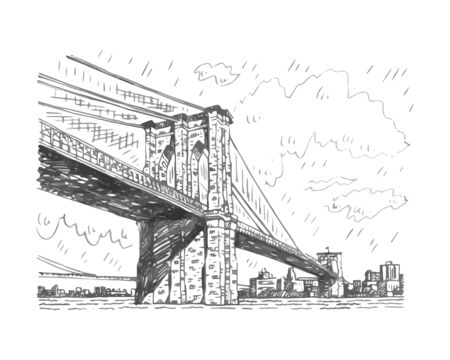 Brooklyn bridge in New York, USA. Sketch by hand. Vector illustration. Engraving style