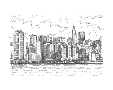 Panoramic view of Manhattan, New York, USA. Sketch by hand. Vector illustration. Engraving style Stock fotó - 127905378
