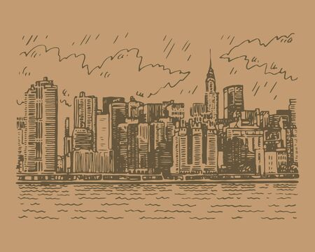 View of Manhattan, New York, USA. Sketch by hand. Vector illustration. Engraving style