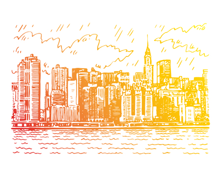 Panoramic view of Manhattan, New York, USA. Sketch by hand. Vector illustration. Engraving style Illustration