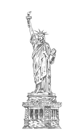 The Statue of Liberty in New York, USA. Sketch by hand. Vector isolated illustration. Engraving style