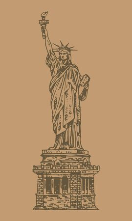 Statue of Liberty hand drawn vintage engraved illustration vector sketch Stock Illustratie