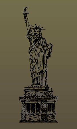 The Statue of Liberty in New York, USA. Sketch by hand. Vector isolated illustration. Engraving style Stock fotó - 129163776