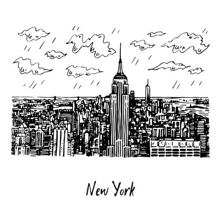 Orizzonte di Manhattan di New York City con l'Empire State Building a New York, U.S.A. Schizzo a mano. Illustrazione vettoriale. Stile di incisione