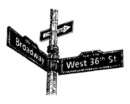 36th Street in Manhattan, New York City, USA. Sketch by hand. Vector illustration. Engraving style Çizim