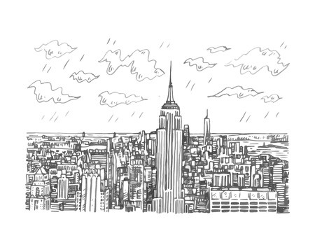 New York City Manhattan skyline with Empire State building in New York, USA. Sketch by hand. Vector illustration. Illustration