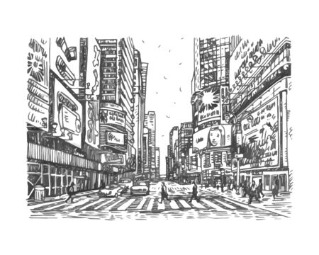 Times Square in New York, USA. Sketch by hand. Vector illustration. Engraving style