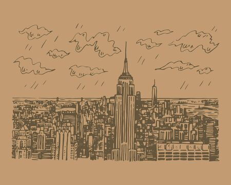 New York City Manhattan skyline view, USA. Sketch by hand. Vector illustration. Engraving style