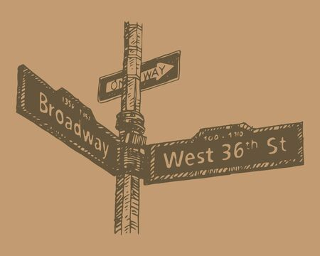 36th Street in Manhattan, New York City, USA. Sketch by hand. Vector illustration. Engraving style  イラスト・ベクター素材