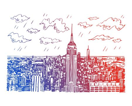 New York City Manhattan skyline with Empire State building in New York, USA. Sketch by hand. Vector illustration. Engraving style Stock fotó - 129163802