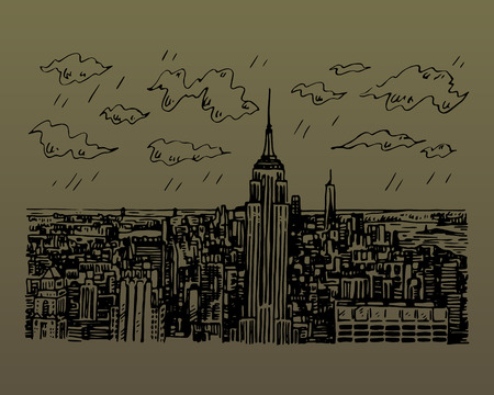 New York City Manhattan skyline with Empire State building in New York, USA. Sketch by hand. Vector illustration. Engraving style