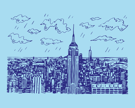 New York City Manhattan skyline in New York, USA. Sketch by hand. Vector illustration. Engraving style Illusztráció