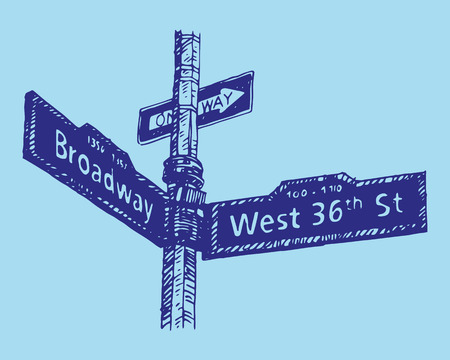 36th Street in Manhattan, New York City, USA. Sketch by hand. Vector illustration. Engraving style Illusztráció