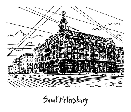 Singer House (House of Books) on the Nevsky Prospekt in Saint Petersburg, Russia. Sketch by hand. Vector illustration. Illusztráció