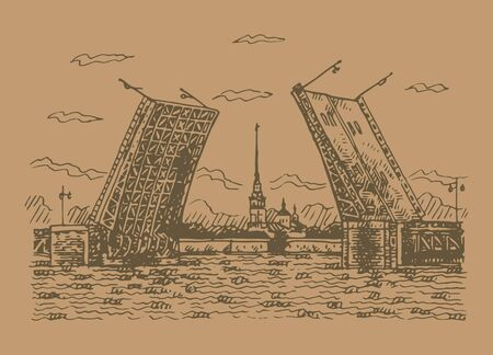 Bridge of Peter and Paul Fortress - symbol of Saint Petersburg, Russia. Sketch by hand. Vector illustration.