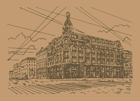 Singer House (House of Books) on the Nevsky Prospekt in Saint Petersburg, Russia. Sketch by hand. Vector illustration. Stock fotó - 129163788