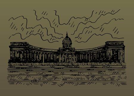 Saint Petersburg, Russia. Sketch by hand. Vector illustration. Иллюстрация