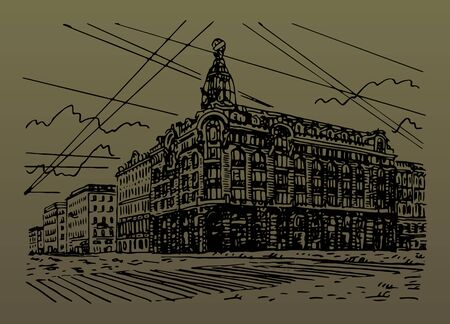 Singer House (House of Books) on the Nevsky Prospekt in Saint Petersburg, Russia. Sketch by hand. Vector illustration. Stock fotó - 127905453