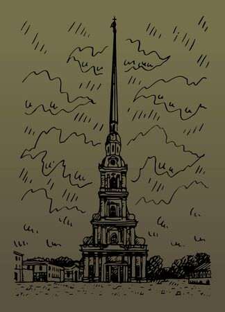 Peter and Paul Cathedral located in Saint Petersburg, Russia. Sketch by hand. Vector illustration. Stock fotó - 129163795