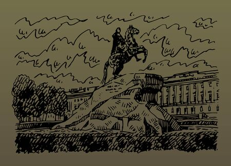 Statue of Peter the Great (Bronze Horseman) in Saint Petersburg, Russia. Sketch by hand. Vector illustration.