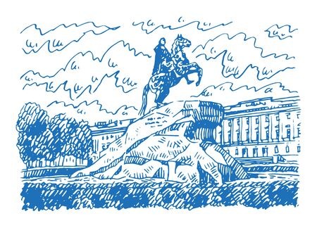 Statue of Peter the Great (Bronze Horseman) in Saint Petersburg, Russia. Sketch by hand. Vector illustration.