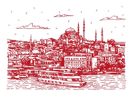 View of the old town of Istanbul, Turkey. The Sueleymaniye Mosque in Istanbul, as seen from the Golden Horn. Sketch by hand. Vector illustration. Stock fotó - 127905494