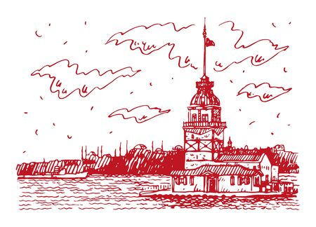 View of the Maiden's Tower on the Bosphorus strait, Istanbul, Turkey. Sketch by hand. Vector illustration. Illusztráció