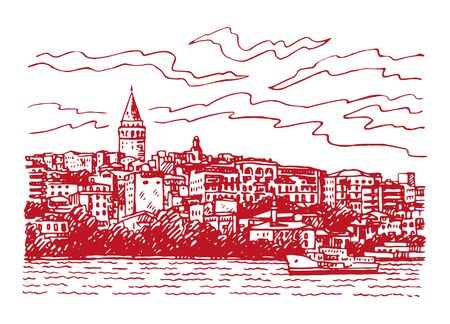 View from Istanbul with Galata Tower. Seafront of Karakoy, Istanbul, Turkey. Sketch by hand. Vector illustration. Stock fotó - 129164374
