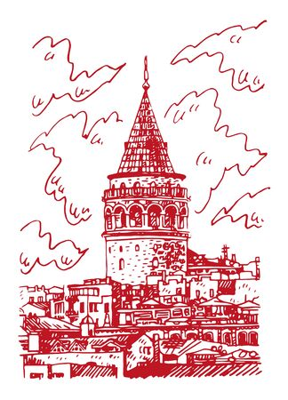 Galata Tower, Istanbul, Turkey. Famous landmark in the European side of Istanbul. Sketch by hand. Vector illustration. Иллюстрация