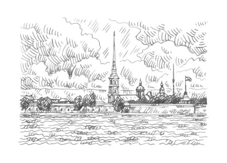 Peter and Paul Fortress across the Neva river, St. Petersburg, Russia. Sketch by hand. Vector illustration.